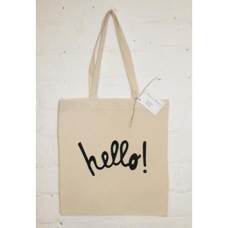 Tote bag met hello print